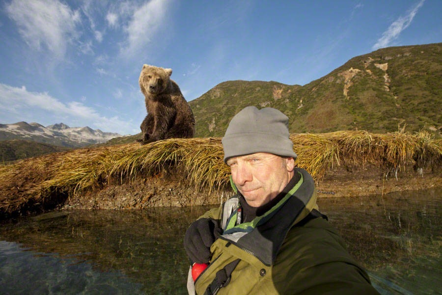Photographer and Brown Bear, Katmai National Park, Alaska