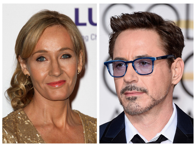 J.K. Rowling and Robert Downey Jr.