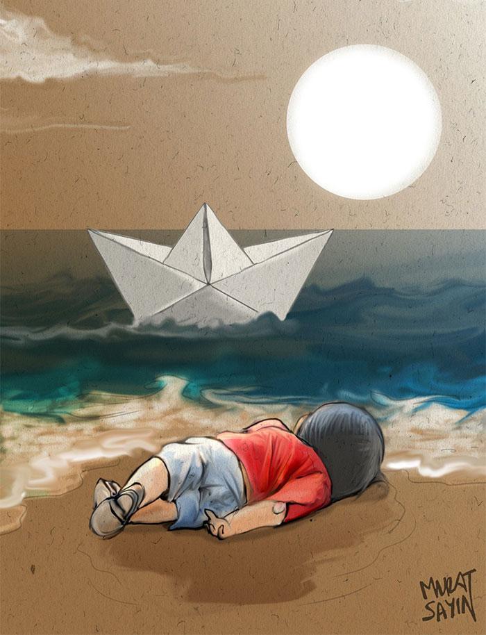 Denizde boğulan suriyeli göçmen çocuk aylan kurdi çizimleri 3