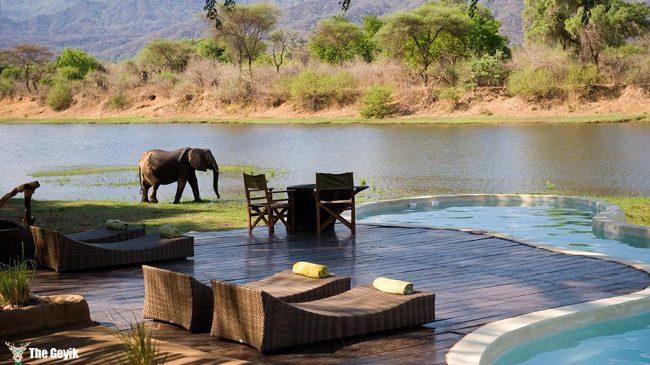 Chongwe River House pool in Zambia, Africa